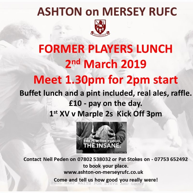 Former Players Lunch - 2nd March from 1.30pm