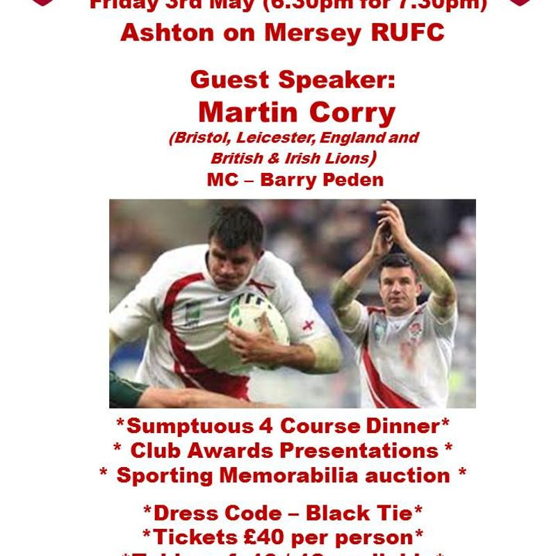 Sportsman's Dinner 3rd May - book your table now.