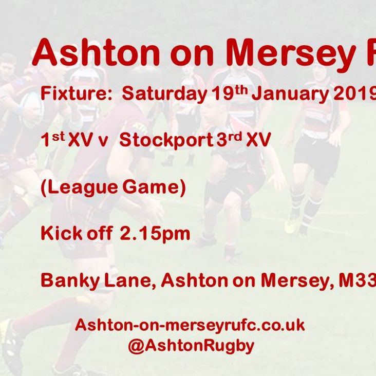 1st XV home to Stockport 3s 19th Jan<
