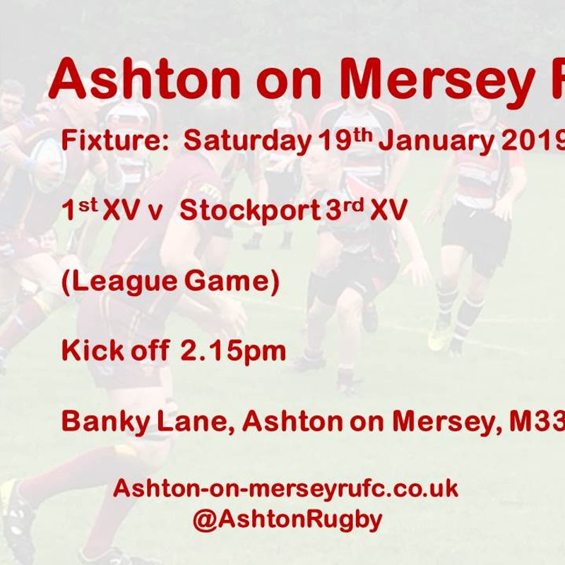 1st XV home to Stockport 3s 19th Jan