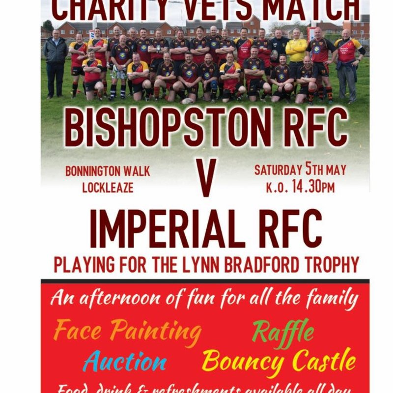 Charity Vets Match  Saturday 5th May K.O. 1430 hrs
