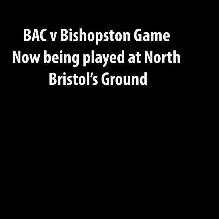 BAC v Bishopston Venue Change 06/10/18