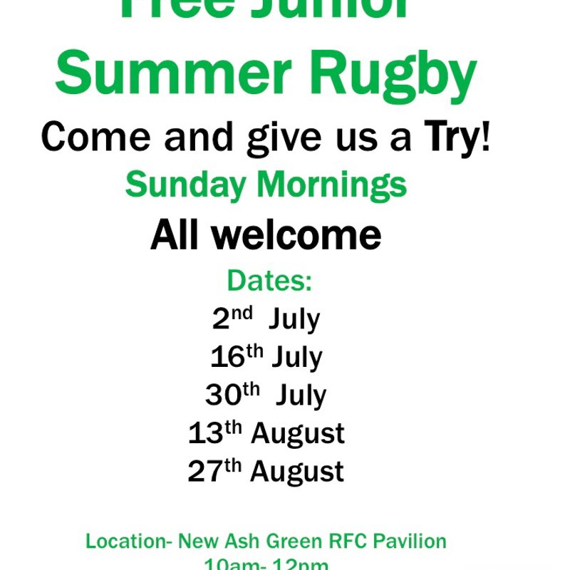 Free Junior Rugby - All Youngster's Welcome. Please Share.