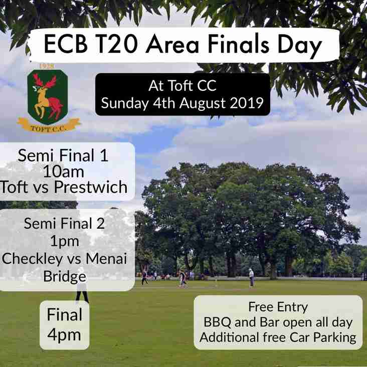 Area T20 finals at Toft CC on Sunday 4th August