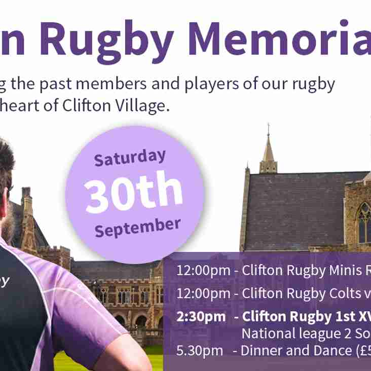 TICKETS ON SALE: Clifton Memorial Day - Saturday 30th September