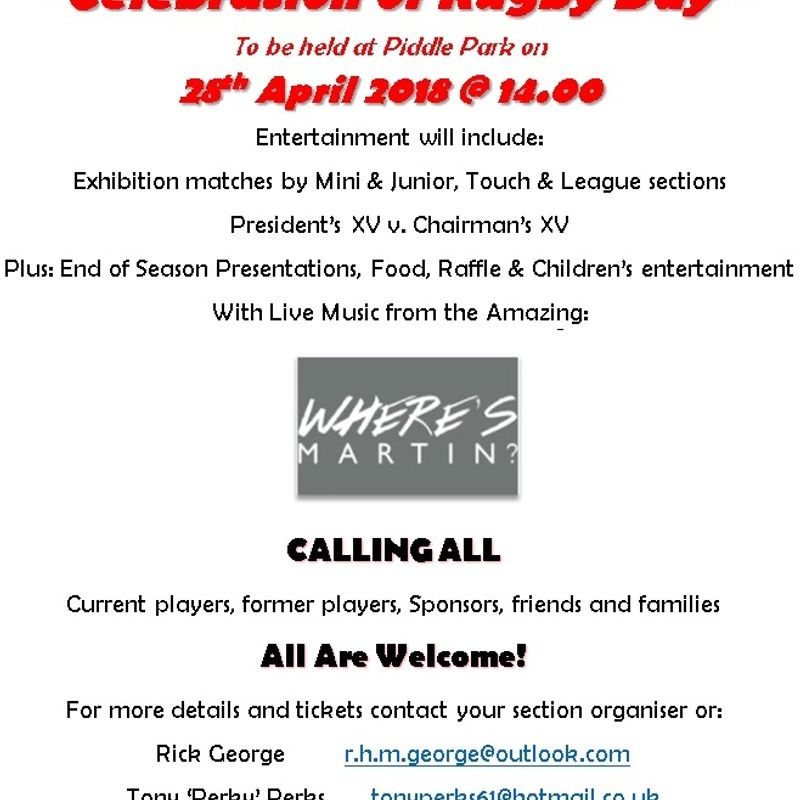 """Celebration of Rugby Day"", Sat 28th April 2018"