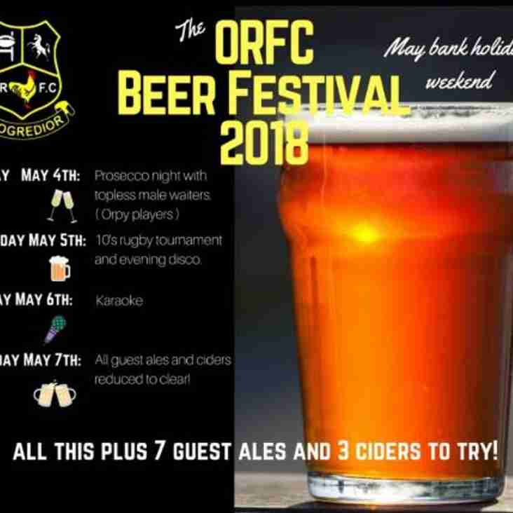 ORFC Real Ale (& Rugby... & Cider... &...Prosecco) Festival 2018