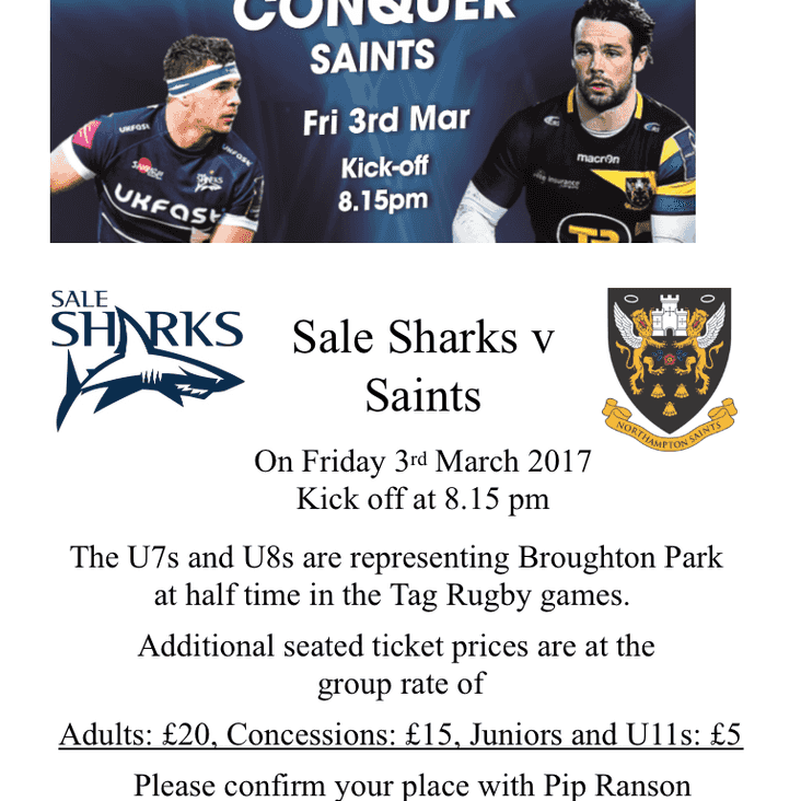 Sale Sharks v Northampton Saints Community Ticket Offer