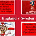 England v Sweden  Sat 3.00pm K.O open from 2.00pm