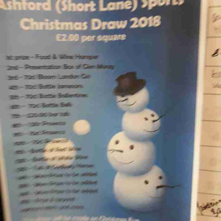 Christmas Draw at Ashford (Short Lane) Sports (A(SL)S)