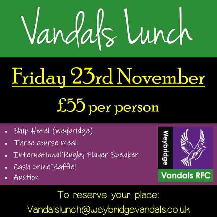 Vandals Lunch - Friday 23rd November