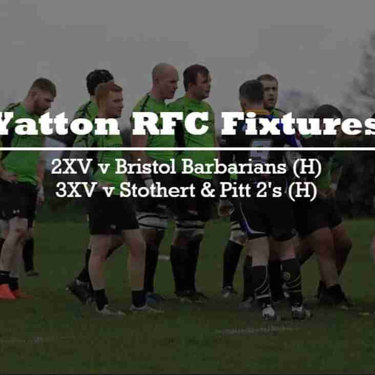 2XV & 3XV at home this Saturday