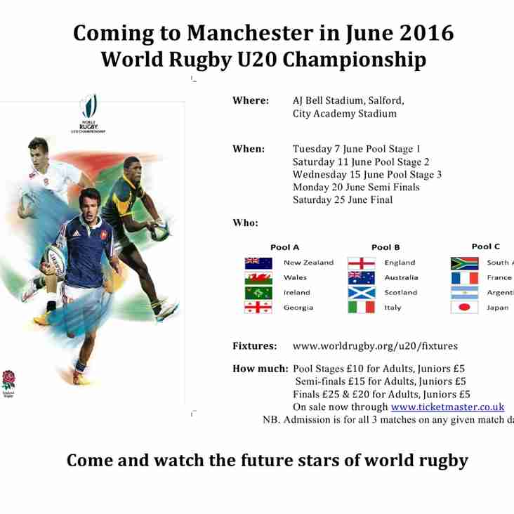 WORLD RUGBY U20S CHAMPIONSHIP- TICKET INFO FOR OUR CLUB