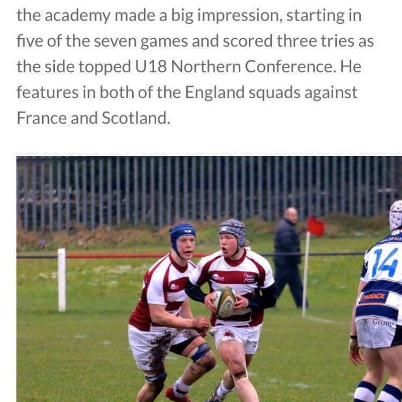 WELL DONE TO NIC DOLLY ON  BEING SELECTED FOR ENGLAND U18S
