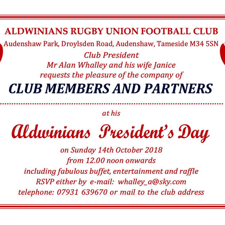 DONT FORGET TOMORROW ! PRESIDENTS DAY - SUNDAY  14TH OCTOBER 2018