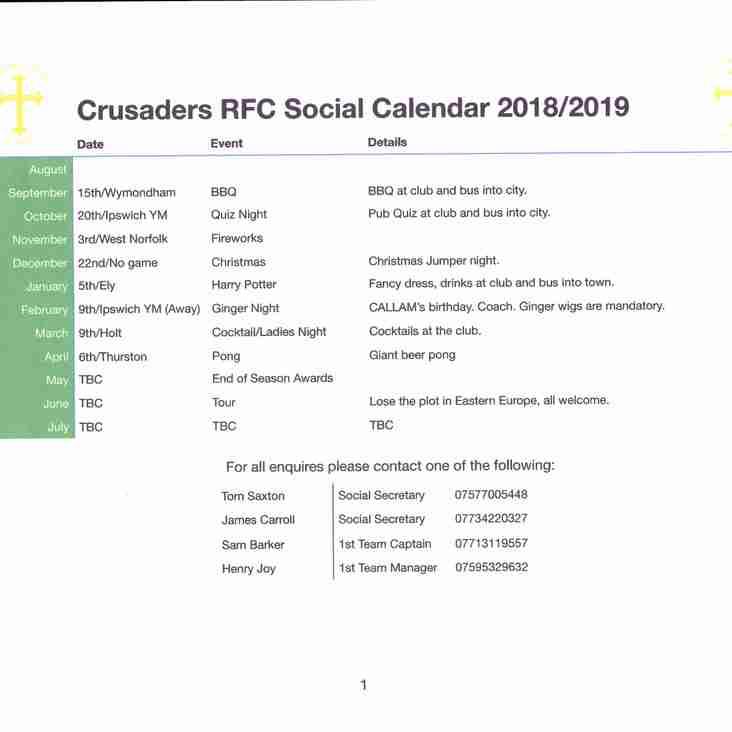 Crus Social Calendar 2018/19
