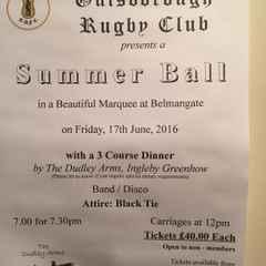 Guisborough Rugby Club Summer Ball  Friday 17th June 2016