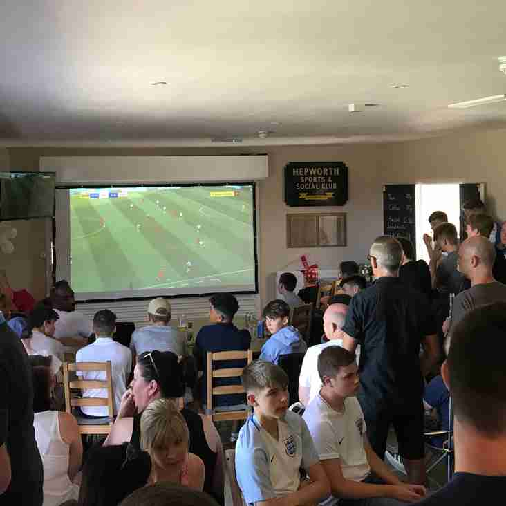 Hepworth United Supporting England at the Clubhouse