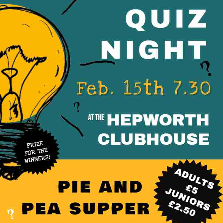 Family Quiz Night and Pie and Pea Supper Fri 15th Feb