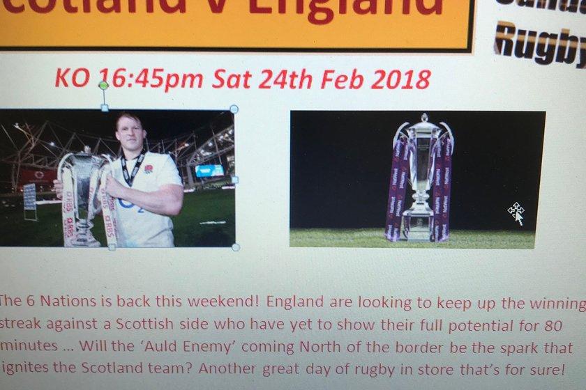 6 Nations Game - Scotland v England Saturday 24th Feb 18 - 4.45pm KO @ Sandal RUFC