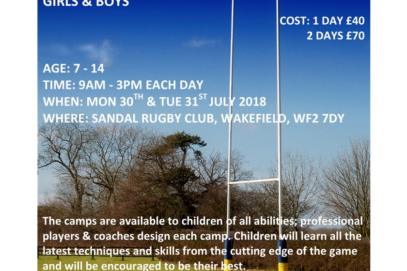 Summer Rugby Camps 30th and 31st July 2018