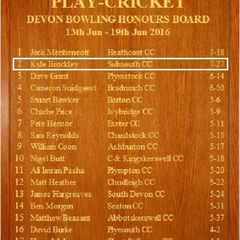 Devon League Bowling Honours Board - Week 7