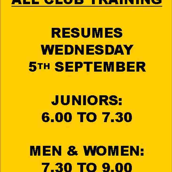 ALL CLUB TRAINING RESUMES