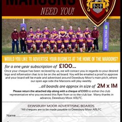 Dewsbury Moor Maroons Sponsors Required