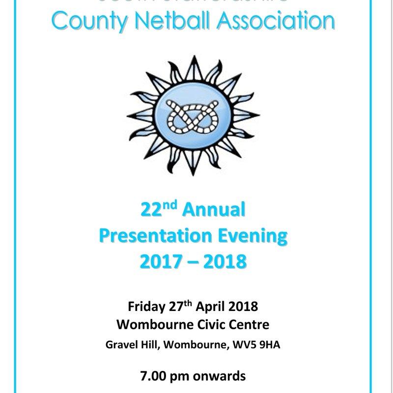 South Staffs County Netball Presentation evening