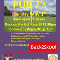 URFC Social 7's this Sunday 1st May 2016