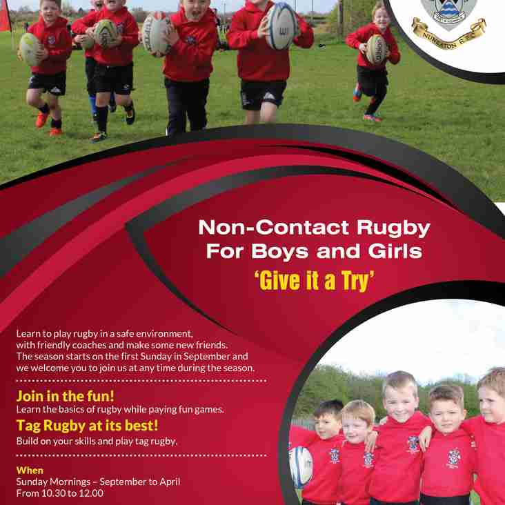 Non-contact Rugby for boys and girls aged 4 to under 8's.