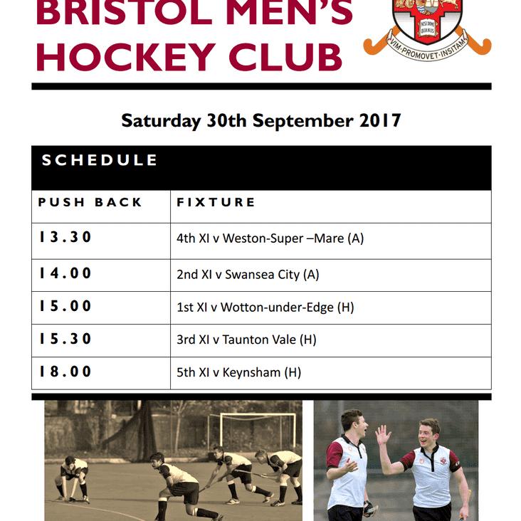 Fixtures 30th September 2017