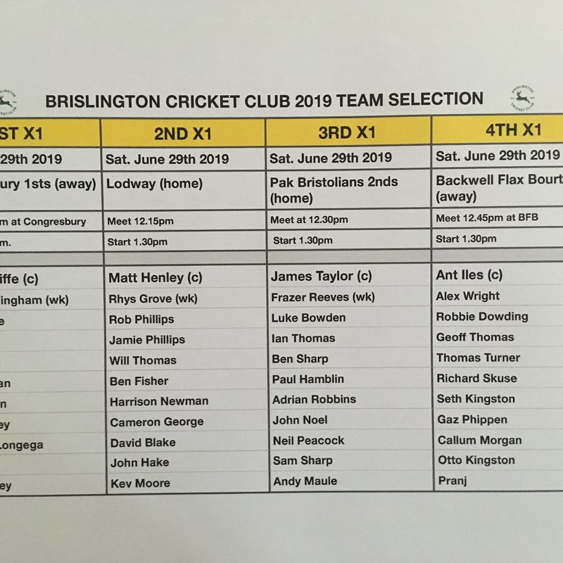 Brislington CC Team Selection Saturday June 29th 2019