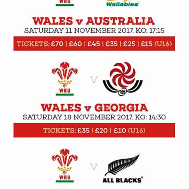 Apply for Wales Autumn Series 2017 Tickets Now!