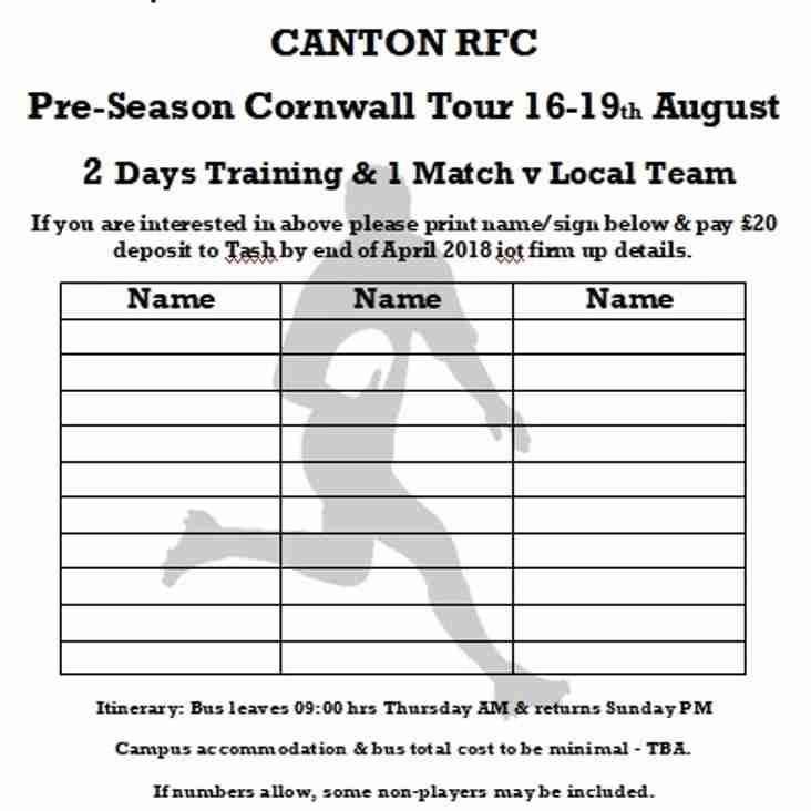 Pre-season Cornwall Tour