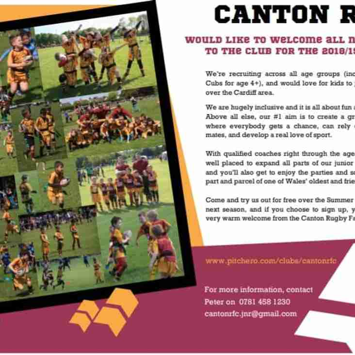 Canton RFC Welcomes All New Players