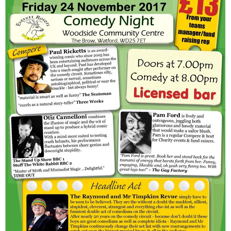 Comedy Night Returns 2017 - Friday 24th November