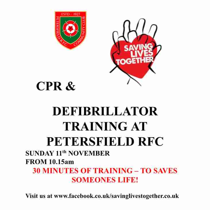 CPR & Defibrillator Training - 11th November