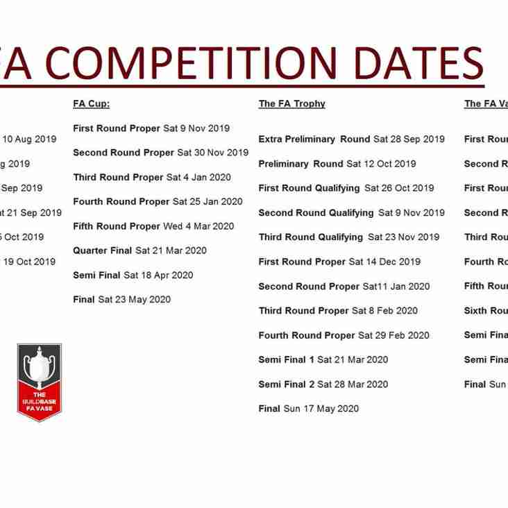 FA Competition Dates for 2019/20 released
