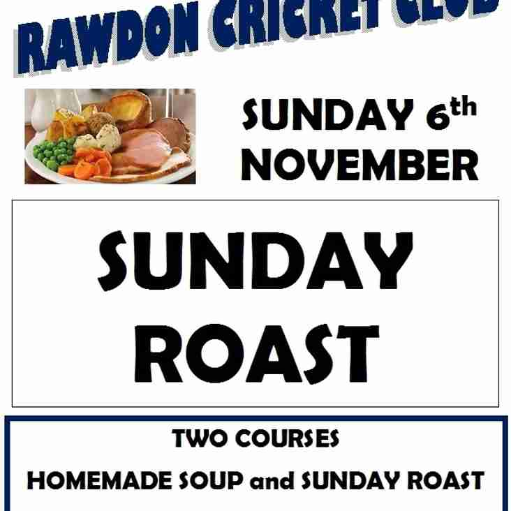 SUNDAY LUNCH at RCC - Sunday 6th November 1-2.30pm, and 100 CLUB