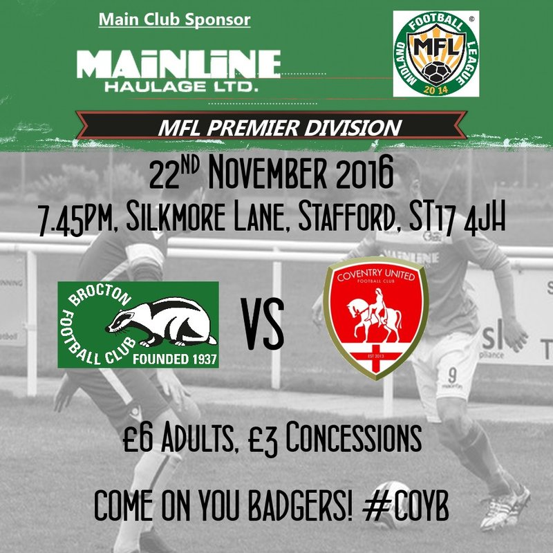 Tomorrow Night : Coventry United at Home