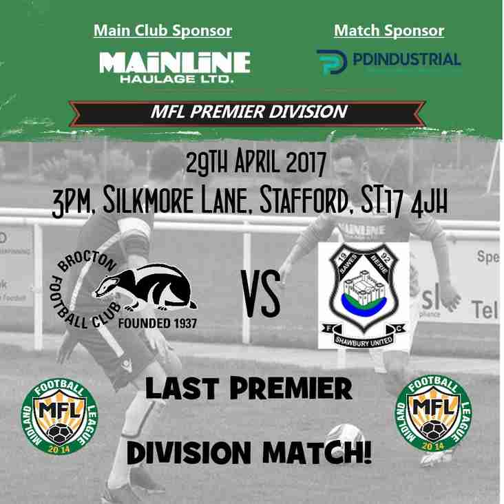 Match Preview: Our last goodbye to the Premier Division!