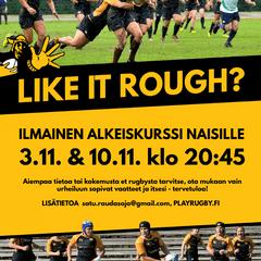 Rugbyn alkeiskurssi naisille ti 3.11. ja ti 10.11.!