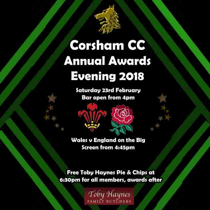 Corsham CC Annual Awards Evening Saturday 23rd February