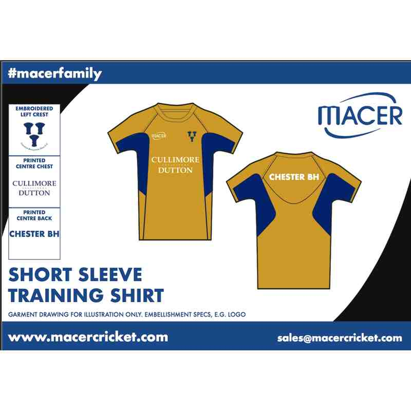 CBHCC Short Sleeve Training Top - Gold and Navy
