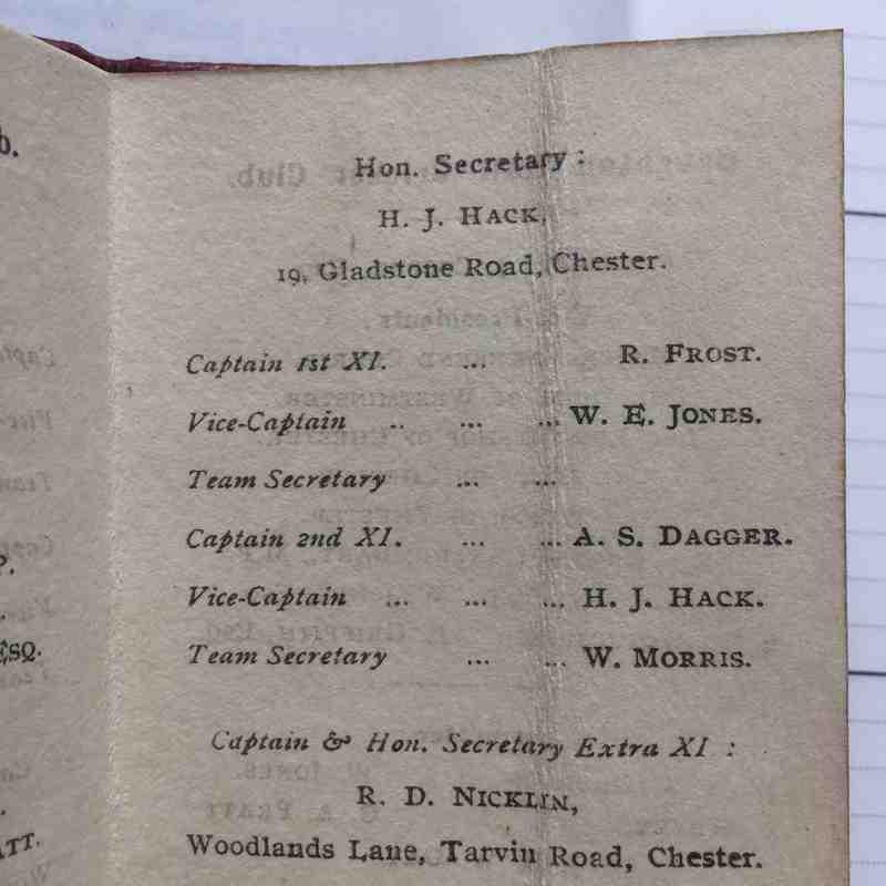 1927 Fixture Card