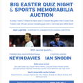 Easter quiz night and sports memorabilia auction - Sunday 1 April