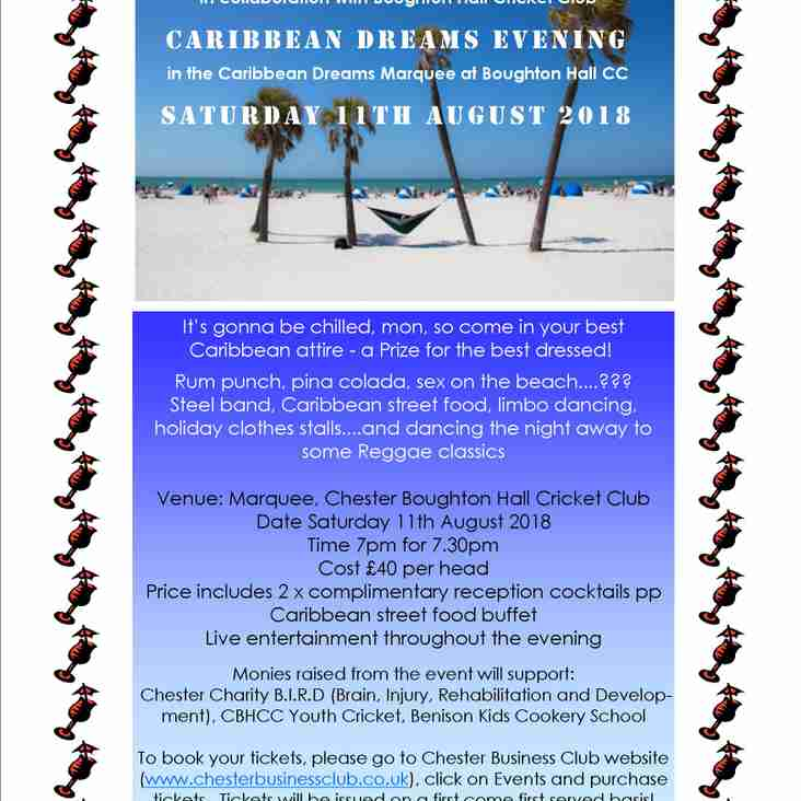 Caribbean Dreams Evening ...in the Marquee, Saturday 11 August 2018