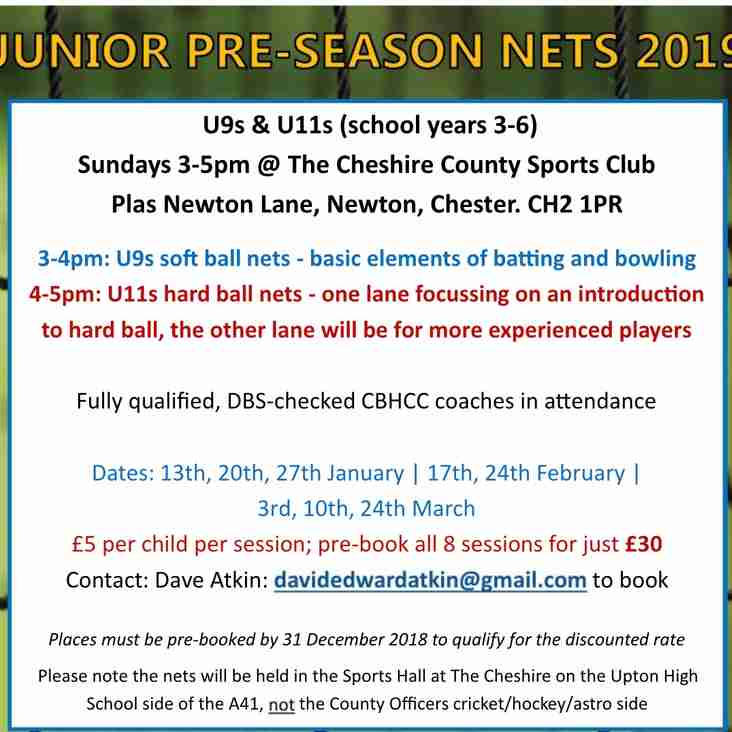 Early call for winter junior nets (U9s & U11s)