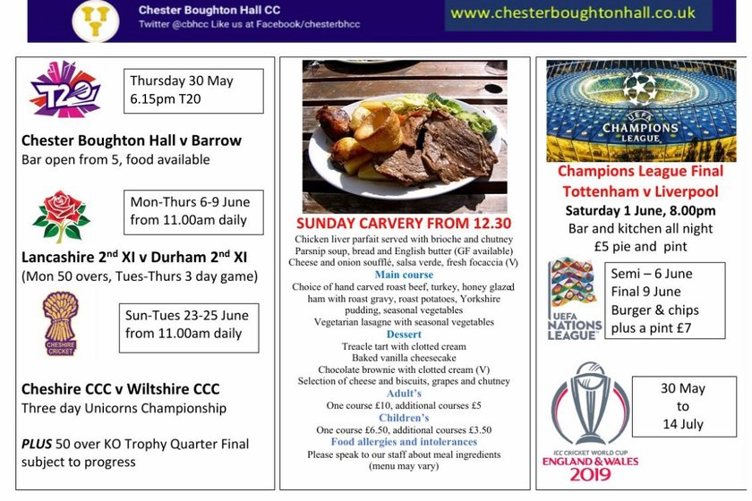 What's on - it's cricket and football over the next few weeks